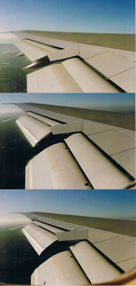 Three more photos of the 747 wing while approaching landing with the flaps fully extended