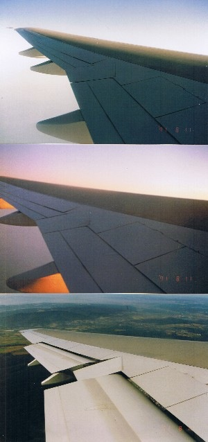 Three photos of the 747 wing while approaching landing
