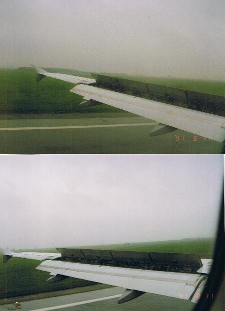 A320 wing during touchdown
