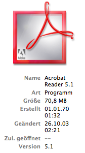 Acrobat Reader icon in the Finder with information displayed
