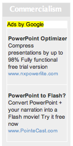 Ad block with ads for 'PowerPoint Optimizer' and 'PowerPoint to Flash'