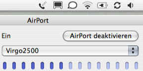 Screenshot displaying different gauges for Airport signal strength.