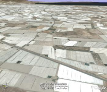 View of the tomato plantations around almeria on Google Earth
