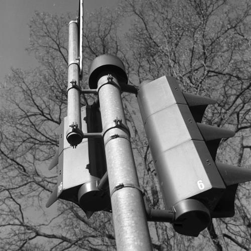 Black and white phot of traffic light
