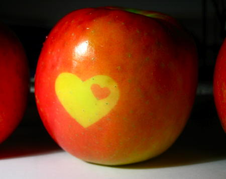 Heart image on an apple