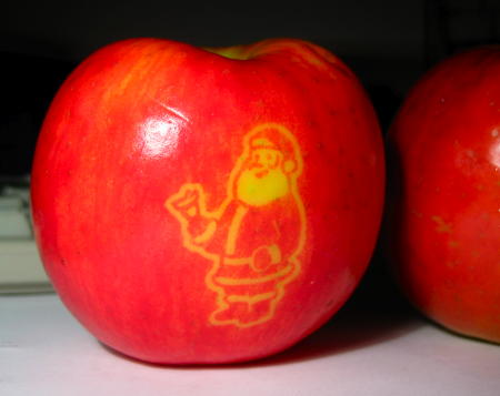 Santa image on an apple