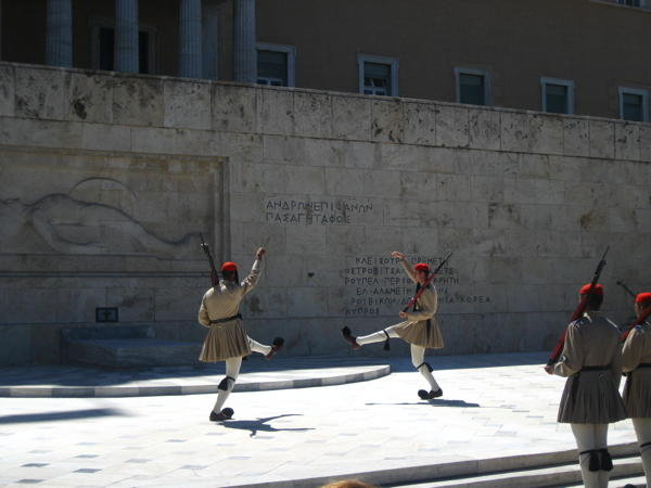 Change of the guard at the grave of the unknown soldier in Athens