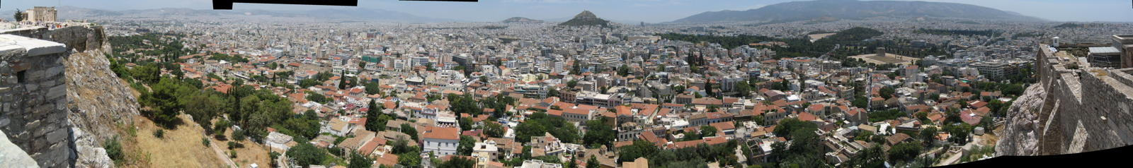 Panorama view of Athens taken from the Akropolis