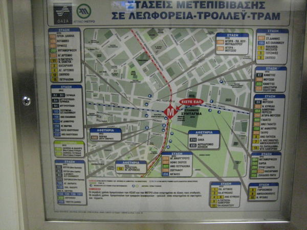 Map of bus stops at Syntagma square
