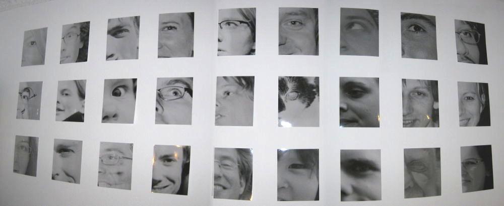 Wall full of eye photos