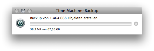 Time Machine Backup progress window with more than 1400000 files to go.