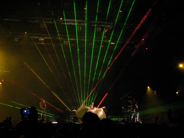 Peaches on stage with some lasers in Hangar 4 at Berlin Festival 2010