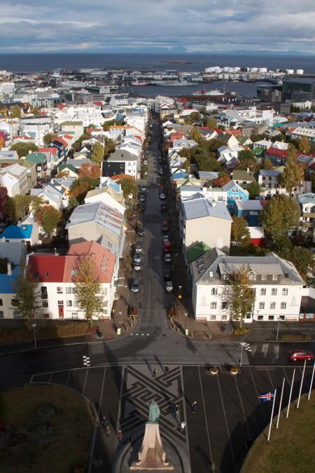 View onto downtown Reykjavík from Hallgrímskirkja