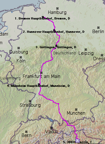 Map of the route I traveled.