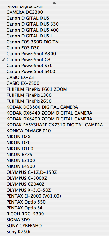 Menu listing all the cameras my computer knows about from the photos it takes care of