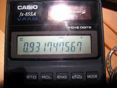 Casio pocket calculator showing the result for sin(100000000)