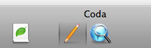 Coda Toolbar with just the useful Sites, Edit and Preview icons shown