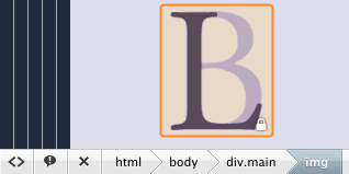 DOM navigation breadcrumbs tail at the bottom of Coda's preview with the corresponding part of the page highlighted