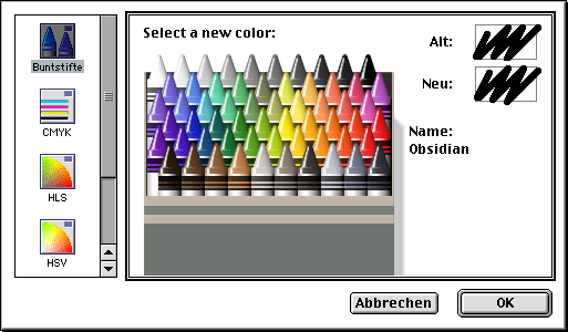 Classic colour picker with colour 'obsidian', aka 'Black' selected