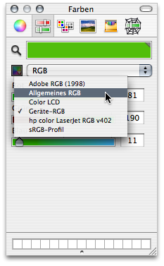 Colour picker displaying the colour profile menu