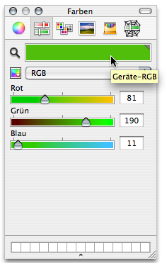 Colour picker displaying a shade of green in 'device RGB'