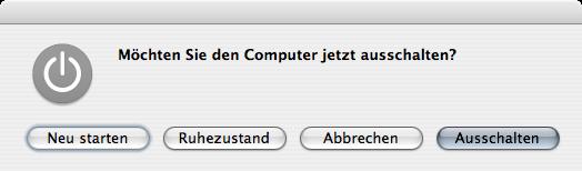 MacOS X shutdown dialogue box
