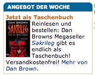 Amazon.de advertising the book