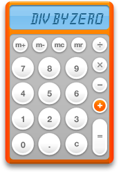 The active Calculator displaying an error message and the plus key being pressed.
