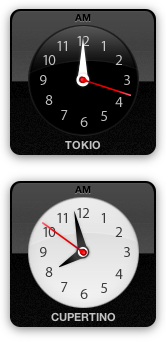 Clocks for Tokyo and Cupertino at night and day time