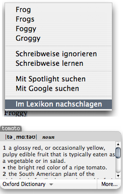 Contextual menu with Dictionary command and little popup window dictionary.