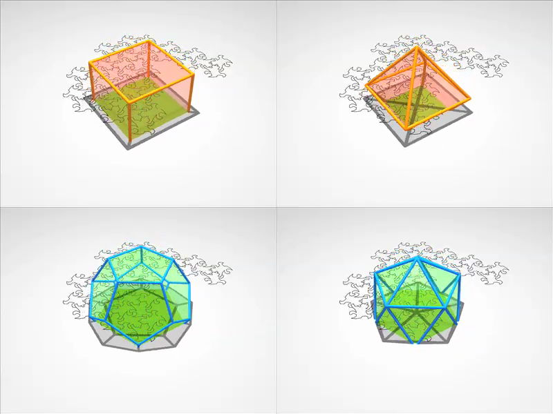 Watching regular polyhedra being intersected by a plane to see how 2-dimensional beings could experience them.