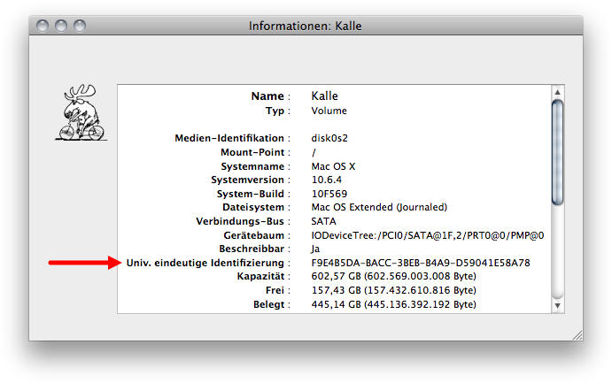 The volume's UUID in Disk Utility's Info window