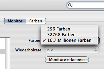 Farben menu in the Monitore System Preference