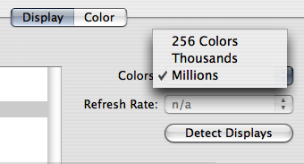 Colours menu in the Display System Preference