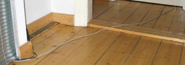 Network cable going across the corridor