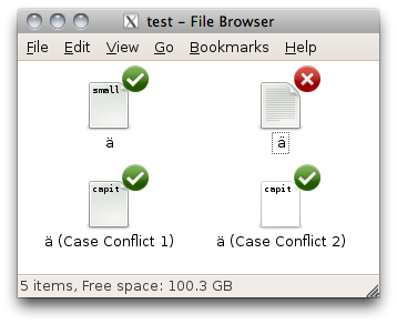 DropBox case conflicts seen in the Linux file browser.