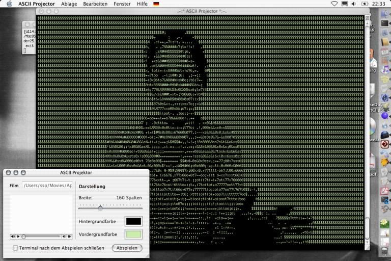 Screenshot of Ellen Feiss ad ASCII playback