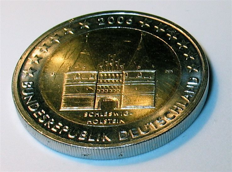 Two Euro coin with the Holstentor on it.