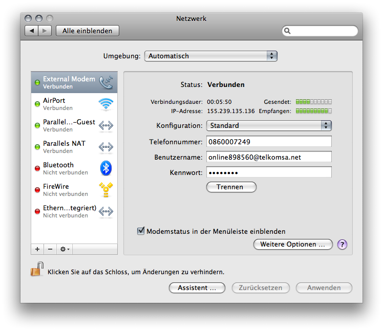Network Preference Pane in Mac OS X.5