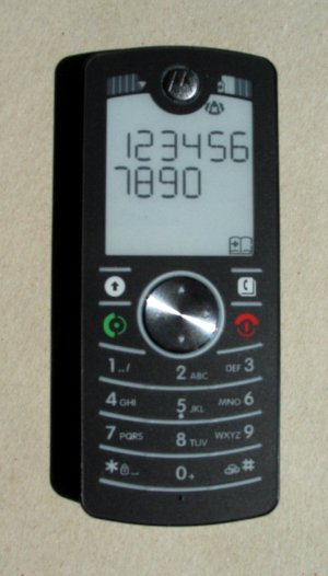 Motorola F3 displaying the digits 1 through 0 on its screen