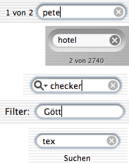 Filter fields from Address Book, iTunes, Mail, Rechnungs Checker, Finder