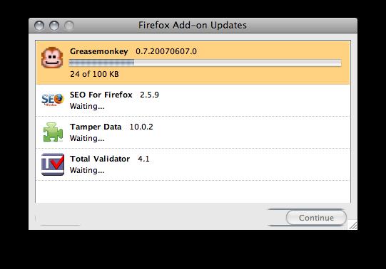 Firefox plugin updating window