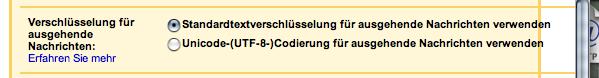 German encoding settings in GMail