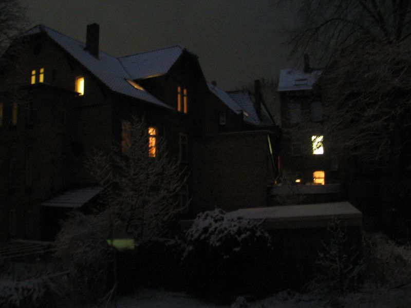 Photo of our garden in the dark