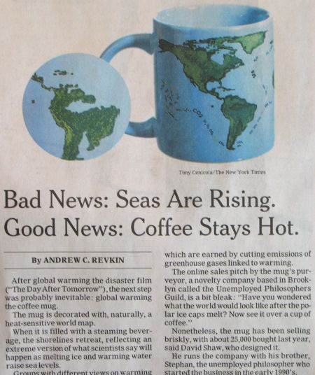 Article about the mug changing its look when heated according the rise of sea levels by global warming