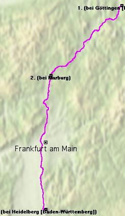 Map, from Göttingen to Heidelberg.