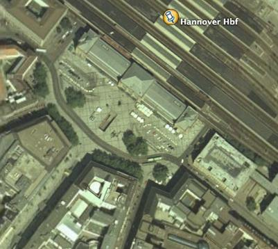 Hannover railway station as seen on Google Earth.