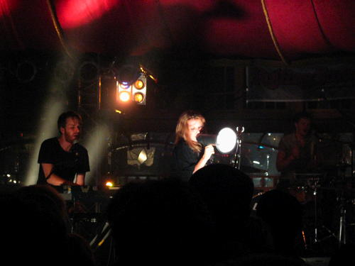 Lykke Li with a megaphone on stage