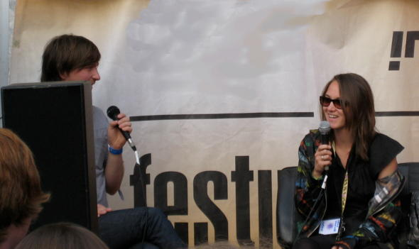 Sophie Hunger being Interviewed at Haldern Pop 2010