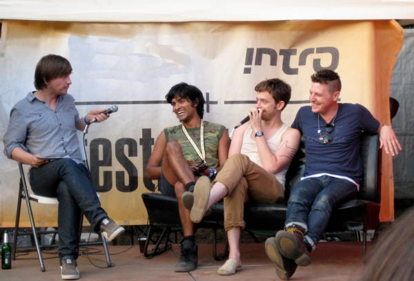 Yeasayer being interviewed at Haldern Pop 2010